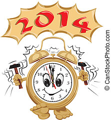 happy new year 2014 - new years ringing clock with a dial...
