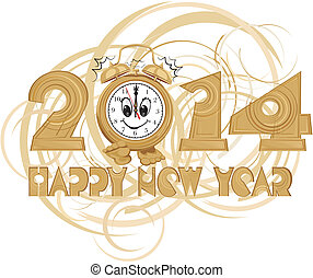 happy new year - new years clock with a dial smiling