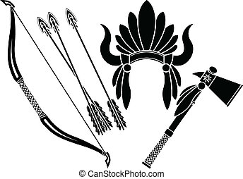 american indian headdress, tomahawk and bow. stencil