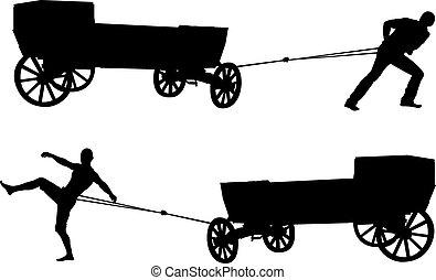 ancient cart and man