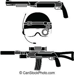 combat helmet and weapons