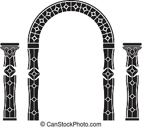 Clip Art Vector Of Greek Columns With Wreaths Stencil