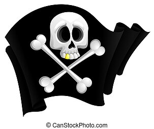 Pirate flag - illustration of black pirate flag with skull