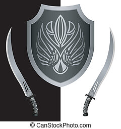 fantasy shield and swords - fantasy shield and swords. tenth...