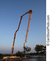 Concrete Pump Truck at sunrise