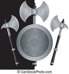 fantasy shields and axes.sixth variant