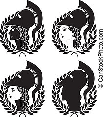 set of athena profiles stencils