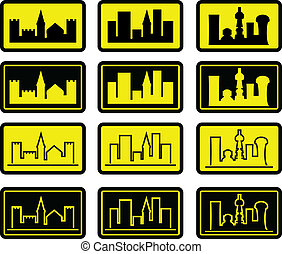 set of city signs