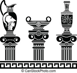 set of hellenic vases and ionic columns stencils