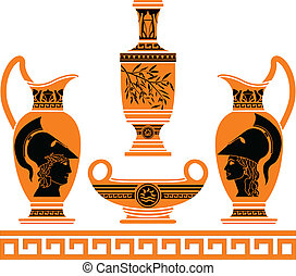 set of hellenic vases stencils