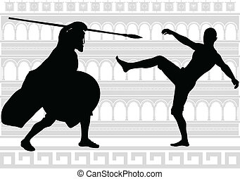 silhouettes of gladiators