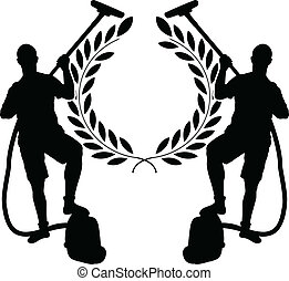 silhouettes of two cleaners and laurel wreath