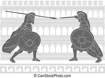 two gladiators. stencil