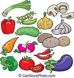 Légumes, icône, ensemble