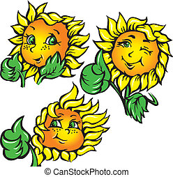 vector funny sunflower shows ok