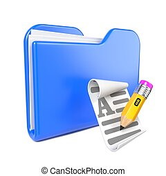 Blue Folder with Yellow Pencil. - Blue Folder with Yellow...