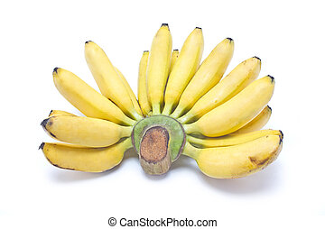 Bunch of asian bananas isolated on white background.