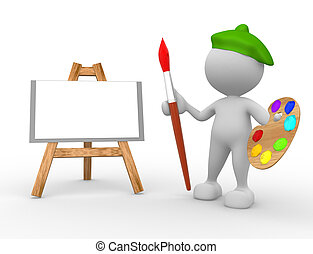 Painter - 3d people - man, person artist painting on a...