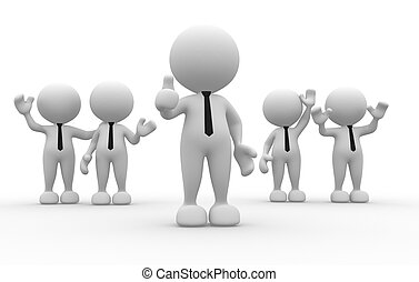Businessman - 3d people - men, person in team. Leadership...
