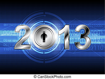 new year 2013 with digital concept background