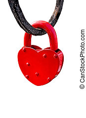 Red heart lock - Red castle in the form of heart isolated on...