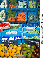 Greengrocery - Vegetable display at a greengrocer's shop in...