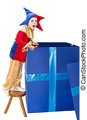 Surprise box with jester - Little jester clown looking into...