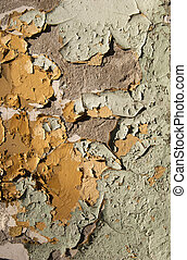 Old crumbling paint wall - Old crumbling paint layers wall...