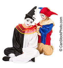 Consolation - Sad pierrot getting consolation by a little...