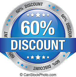 60 percent discount blue silver button isolated