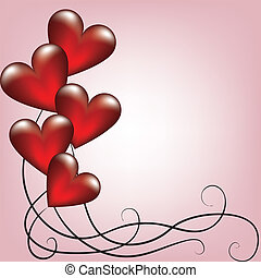 Greeting valentines card with balloons