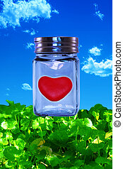 Love Contained - Red heart contained in a glass jar in bed...