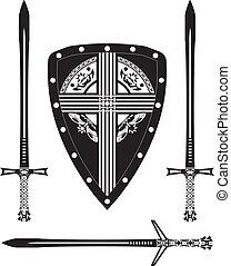 fantasy european shield and swords