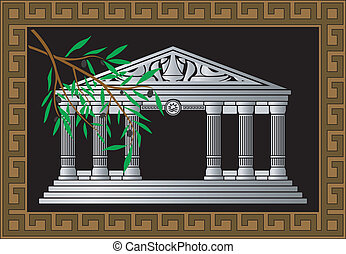 fantasy hellenic temple and olive branch