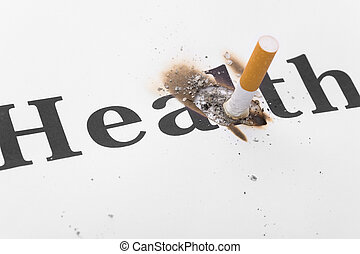Unhealthy Living - A Cigarette Butt close up, concept of...