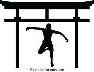 jumping man in torii gate