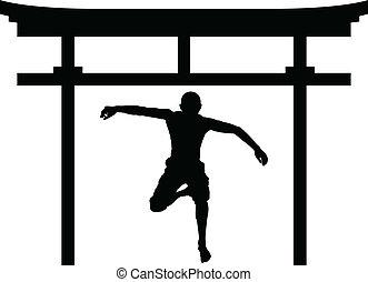 jumping man in torii gate