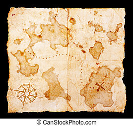 old paper - Old treasure map with clipping path