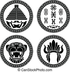 set of mayan signs stencils