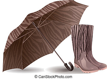 Umbrella and rubber boots - Illustration of umbrella and...
