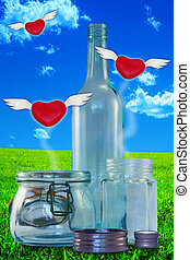 If you love something, set it free... - Red hearts with...