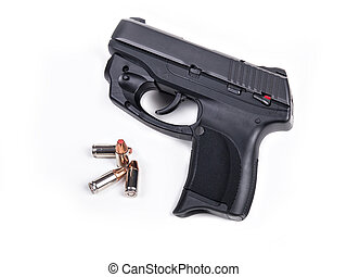 9mm Handgun and Bullets - 9mm Handgun isolated with four...