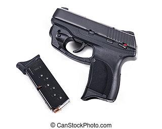 9 Mm, pistola, y, Revista
