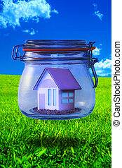 Dream Home - Miniature home enclosed in a floating glass jar...