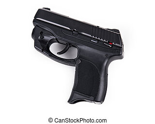 9mm Handgun - Isolated photo of a 9mm handgun with Laser