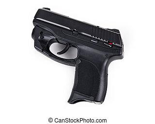 9mm Handgun - Isolated photo of a 9mm handgun with Laser
