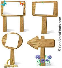 Sign board wood - Cartoon illustration of sign board wood