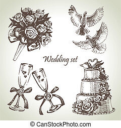 Wedding set Hand drawn illustration