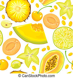 Seamless pattern of yellow fruits and berries