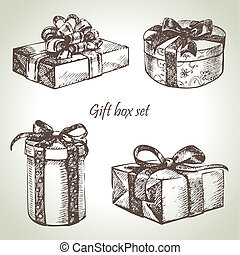 Set of gift boxes. Hand drawn illustration